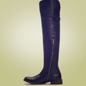 FRYE over the knee black leather boots
